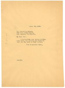 Letter from W. E. B. Du Bois to Eugene C. Nelson