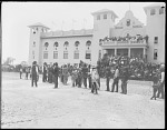 Group of Indians in front of St. Louis Indian School. World's Fair 1904
