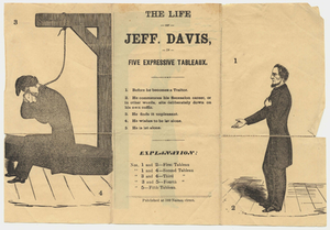Life of Jeff. Davis in five expressive tableaux, about 1865