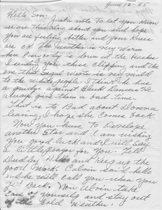 Letter from Fred Cooper to stepson Alvin Ailey