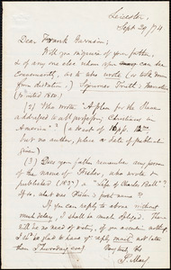 Letter from Samuel May, Jr., Leicester, [Mass.], to Francis Jackson Garrison, Sept[ember] 19 / [18]74