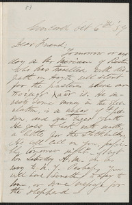 Thumbnail for F. B. Sanborn autograph letter signed to [Thomas Wentworth Higginson], Concord, 6 October [18]59