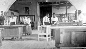 Class in Woodwork, Tuskegee Summer school. Industrial Exhibit