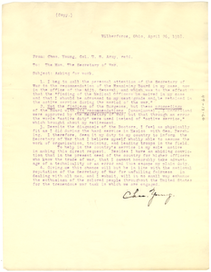 Letter from Colonel Charles Young to U. S. Secretary of War, Newton Baker
