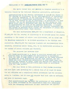 Memorandum on the Sterling-Towner Bill (HR 7)