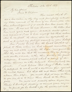 Letter from Lucretia Mott, Philad[elphi]a, [Penn.], to Maria Weston Chapman, 5 mo[nth] 29th [day] 1839