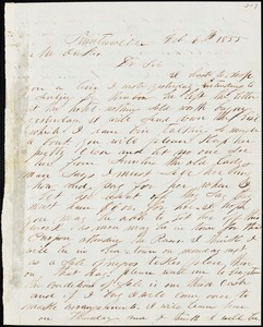 A. J. McElveen, Sumterville, S.C., autograph letter signed to Ziba B. Oakes, 6 February 1855