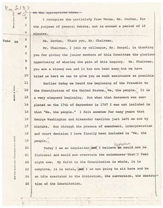 Representative Barbara Jordan's Corrections to the Transcript of Her Statement on the Articles of Impeachment of President Richard Nixon