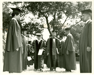 W. E. B. Du Bois and others in academic regalia, Fisk University, 1958