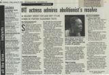IRT actress admires abolitionist's resolve
