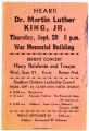 Advertisement for a speech by Dr. Martin Luther King, Jr.