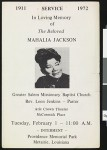 Service in loving memory of Mahalia Jackson, Metairie, LA, 1972