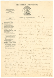 Letter from Maud Cuney Hare to W. E. B. Du Bois
