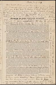 Letter from Anne Warren Weston, Boston, to Mary Weston, Jan. 9, 1839