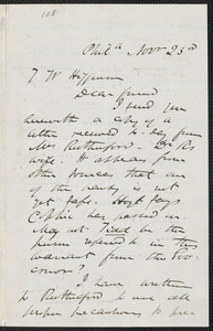 James Miller M'Kim autograph letter signed to Thomas Wentworth Higginson, Phila[delphia], 23 November [1859]