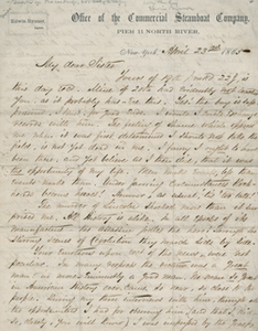 Letter from Edwin Bynner to his sister, 23 April 1865