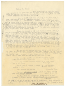 Letter from Blanche Watson to Editor of the Crisis