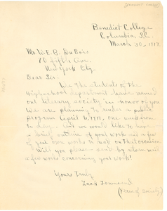 Letter from Benedict College to W.E.B. Du Bois