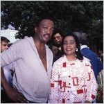 "Paul Winfield and Coretta Scott King on set during the filming of ""King,"" 1977"