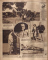 Photomontage of workers making molasses, a British statesman, an Italian foreign minister with his daughter, a fashion model, a shipwreck, and ad. Nashville Tennessean, 1928 October 28.