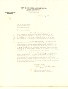 Letter from Nels Anderson to W. E. B. Du Bois