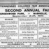 Tennessee Colored Fair Association advertisement