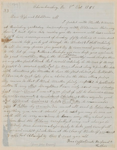 """John Brown autograph letter signed to """"Dear Wife and Children All"""", Chambersburg, PA, 1 October 1859"""