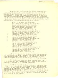 Minutes from a meeting for the proposed solemn memorial of the tercentenary of the transporting of the Negro race to the United States