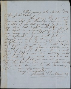 Burch, Kirkland & Co., Montgomery, Ala., manuscript letter signed to Ziba B. Oakes, 21 November 1856