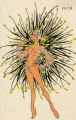 Costume design drawing ,topless showgirl with black and yellow feathers Las Vegas, June 5, 1980