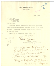 Letter from United States War Dept. to Crisis