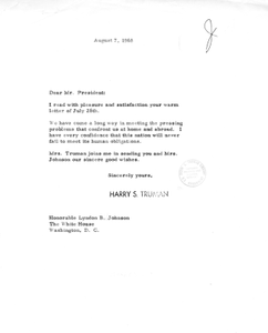 Correspondence between Harry S. Truman and President Lyndon B. Johnson