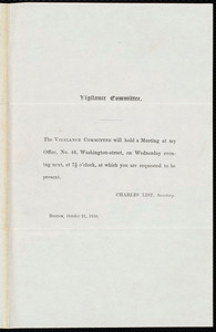 Notice of a meeting from the Vigilance Committee, Boston, to Samuel May, October 21, 1850