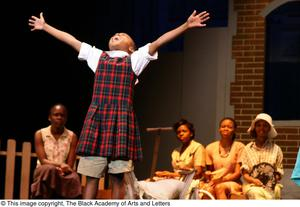 Young Performer Raising Arms on Stage Hallelujah Gospel: The Musical