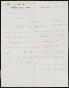 Letter from Eliza Lee Cabot Follen, Brookline, to Amos Augustus Phelps, September 27th 41