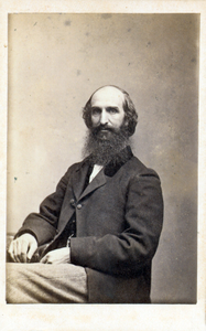 Three-quarter studio portrait of Henry Chandler Bowen, seated, facing front, location unknown
