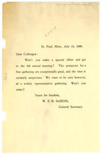 Circular letter from W. E. B. Du Bois