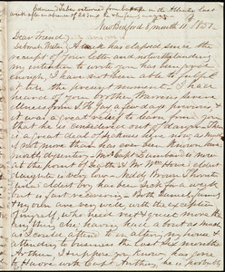 Letter from Joseph Ricketson, New Bedford, [Mass.], to Deborah Weston, 8th month 11th [day] 1851