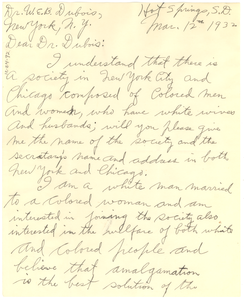 Letter from C. W. Mayer to W. E. B. Du Bois
