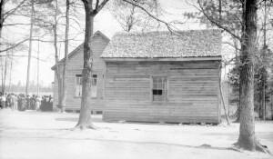 """Old Negro school showing new school in rear. """"Oak Grove"""""""