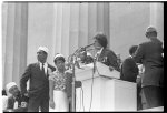 [Josephine Baker standing at a podium on the steps of the Lincoln Memorial at the March on Washington for Jobs and Freedom]