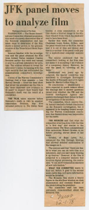 Newspaper Clipping: JFK panel moves to analyze film
