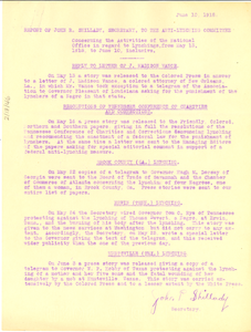 Report of John R. Shillady, Secretary, to the Anti-Lynching Committee