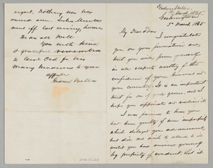 Letter from Secretary Gideon Welles to his son Thomas
