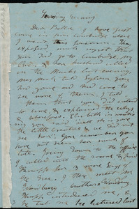 Letter from Mary Weston to Deborah Weston, Tuesday Evening