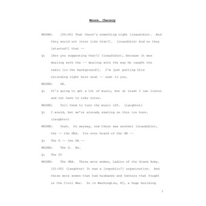 Interview with Reverend Chauncy Moore, April 3, 2009 [transcript]