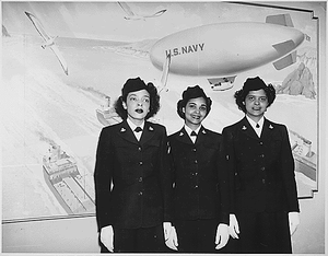 """""""Hospital Apprentices second class Ruth C. Isaacs, Katherine Horton and Inez Patterson (left to right) are the first Negro WAVES to enter the Hospital Corps School at National Naval Medical Center, Bethesda, MD."""""""