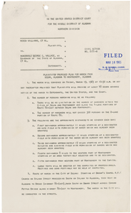 Plaintiffs' Proposed Plan for March from Selma to Montgomery, Alabama