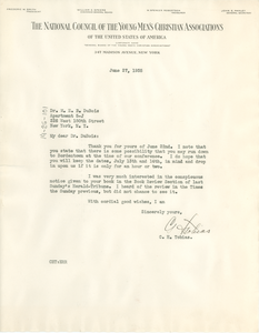 Letter from National Council of the Young Men's Christian Associations of the United States of America to W. E. B. Du Bois