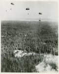 Aerial view of a clearing with soldiers from the African American 555th Parachute Infantry Battalion jumping with parachutes in the distance